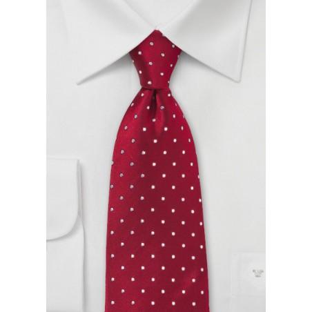 XL Cherry-Red Polka Dot Tie
