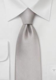 Solid Silver Silk Tie in XL