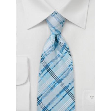 Sky Blue Checkered Tie