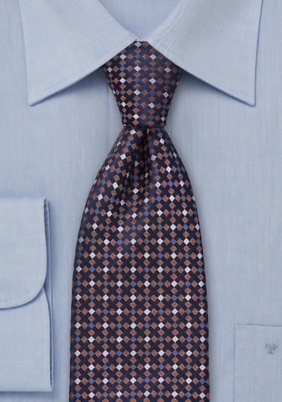 Navy, Blue, Copper, Gray Silk Tie