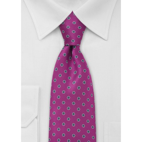 Magenta and Silver Polka Dot Tie