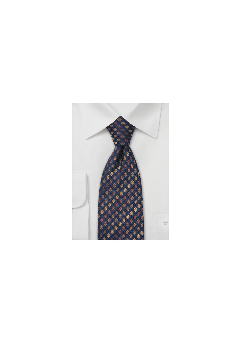 Navy and Bronze Brown Silk Tie