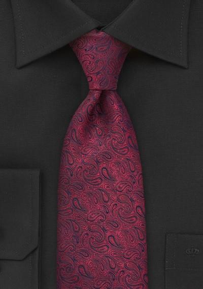 Scarlet Red Paisley Silk Tie