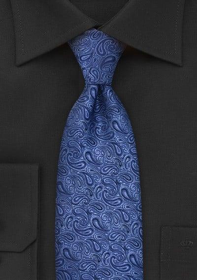 Steel Blue Paisley Silk Tie