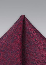 Dark Red Paisley Pocket Squre