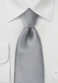 Solid Bright Silver Silk Tie