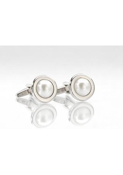 Silver Pearl Cuff Links