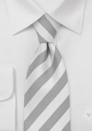 Mens XL Tie in Silver White