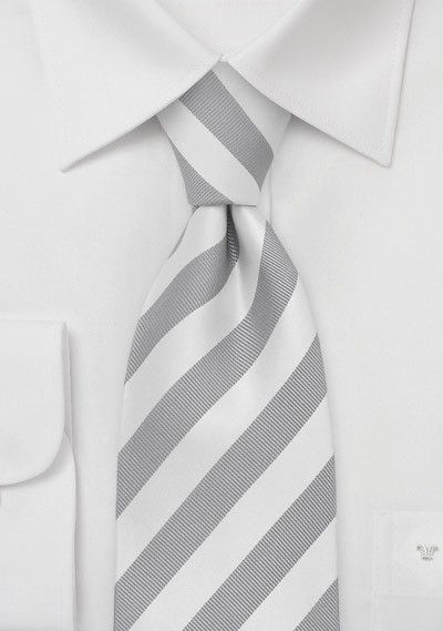 Kids Tie in Silver and White