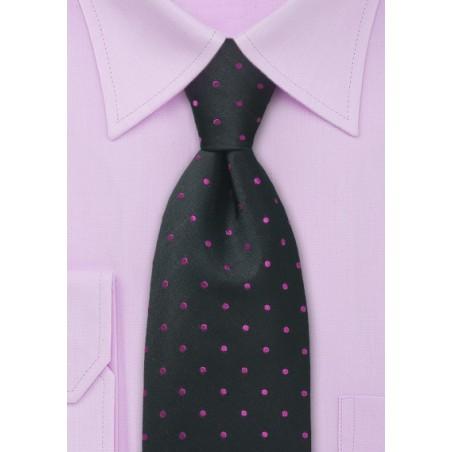 Pink and Black Polka Dot Tie