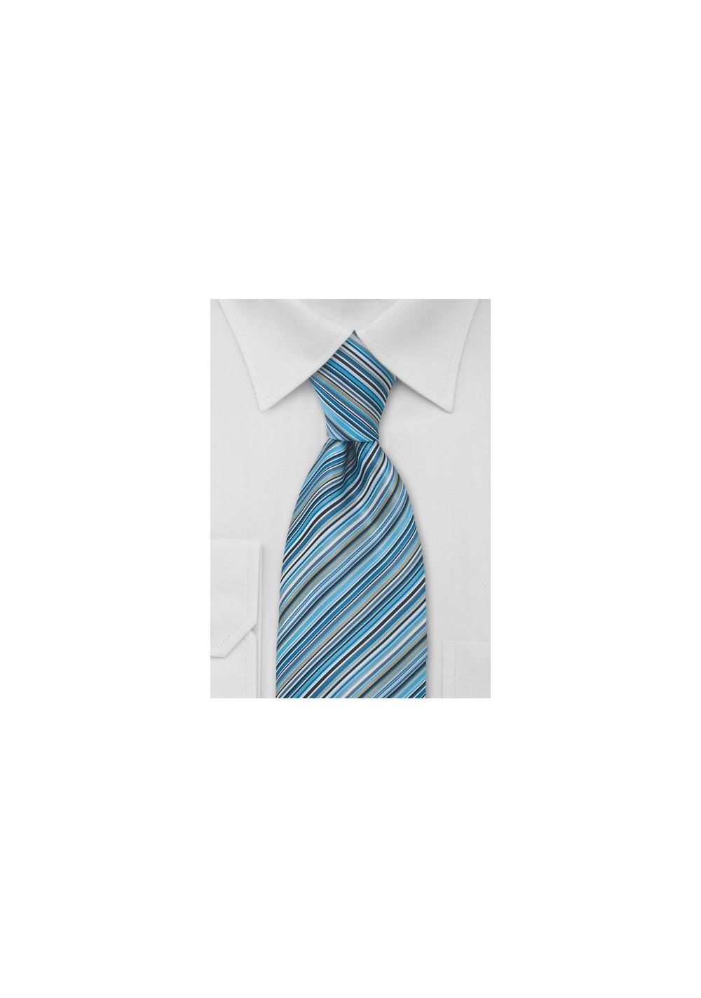 Modern Blue Striped Tie