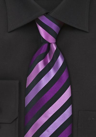 Purple and Black Striped Tie