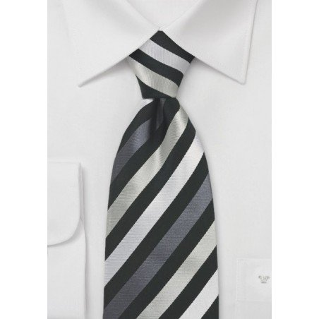 Black and Silver Mens Silk Tie