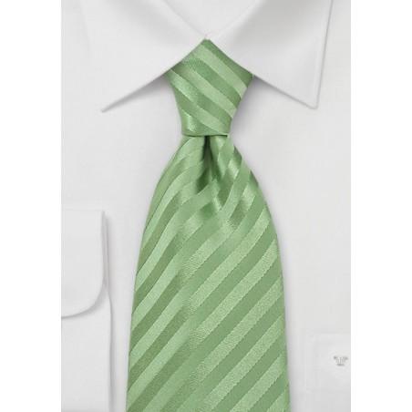 Light Green Striped Silk Tie