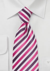 Purple, Magenta, White Striped Tie