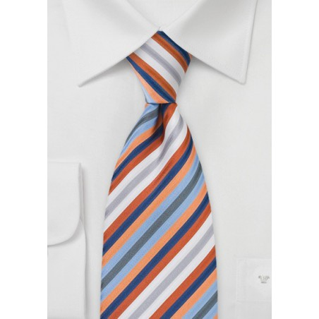 Striped Tie in Orange, Blue, White