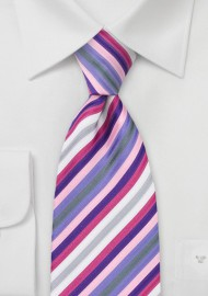 Pink and Purple Striped Tie