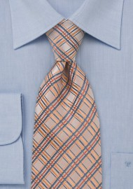 Peach Orange Checkered Tie