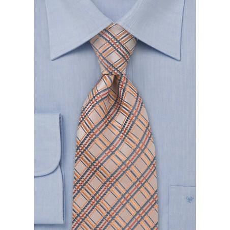 Peach Orange Checkered Tie