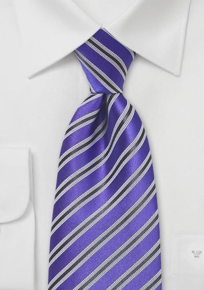 Striped Tie in Kings Purple