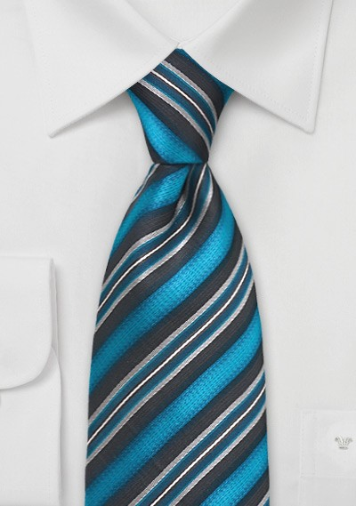 Turquoise and Black Striped Tie