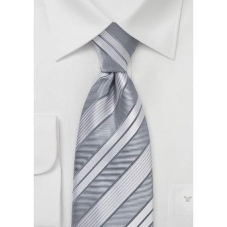 Modern Silver Striped Tie