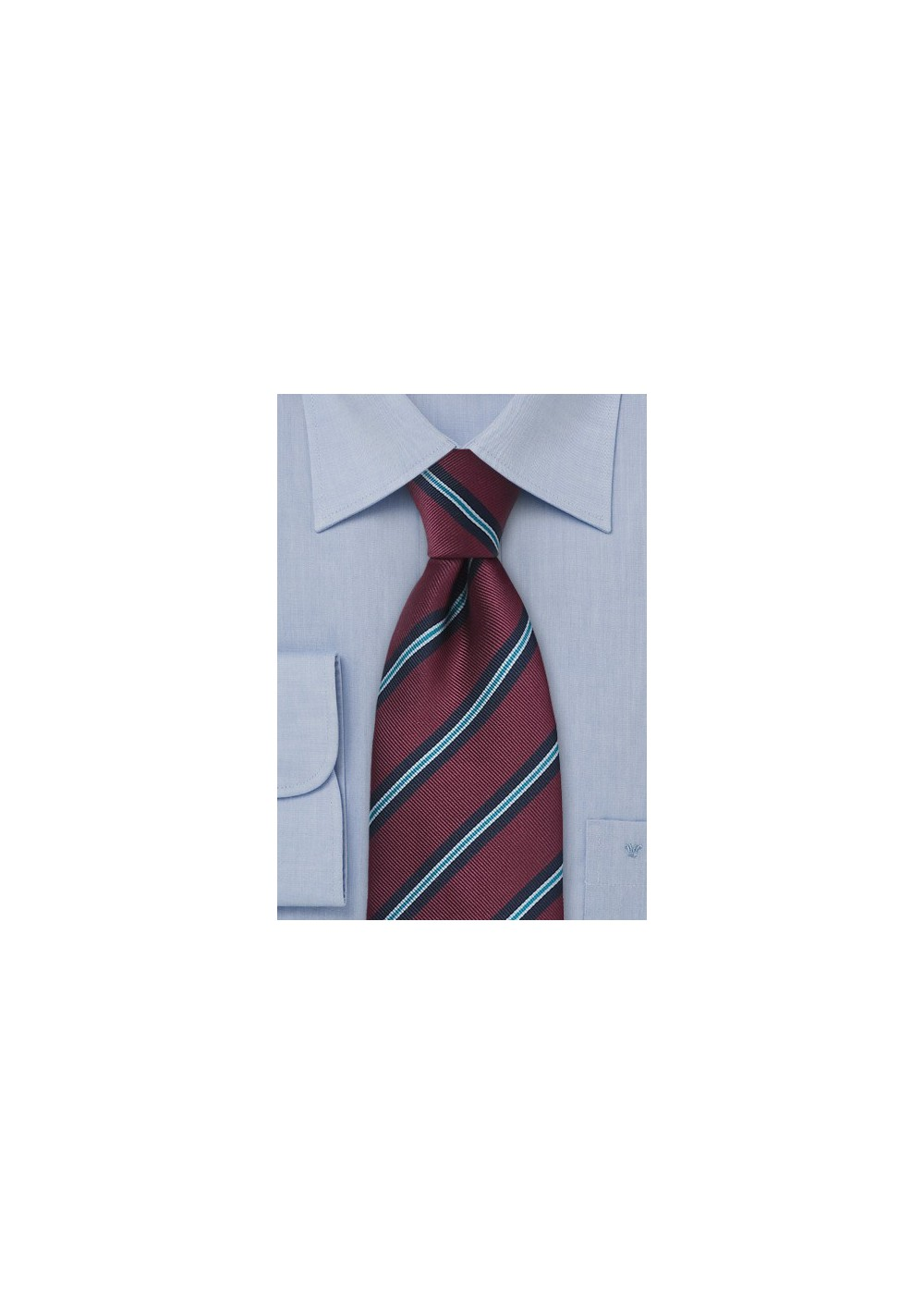 Burgundy Striped Regimental Tie