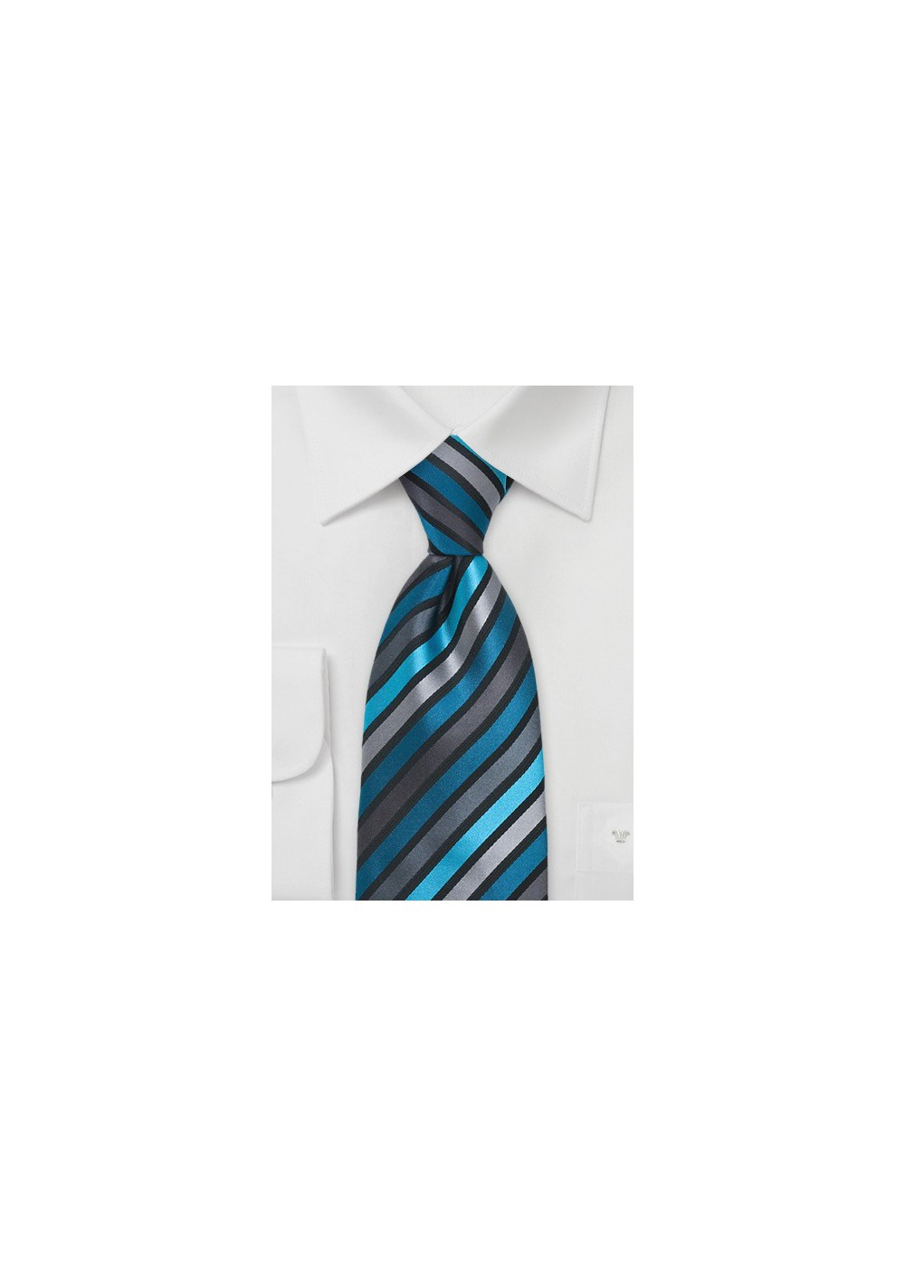 Teal, Aqua, and Gray Striped Tie