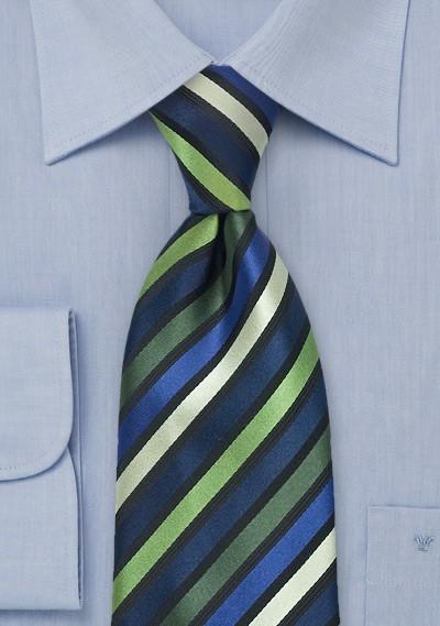 Striped Tie in Green, Navy, Black