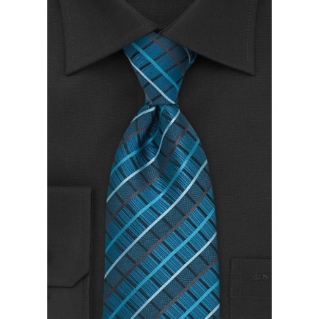 Turquise, Brown, Black Checkered Tie