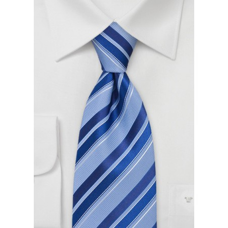 Marine and Pool Blue Striped Tie