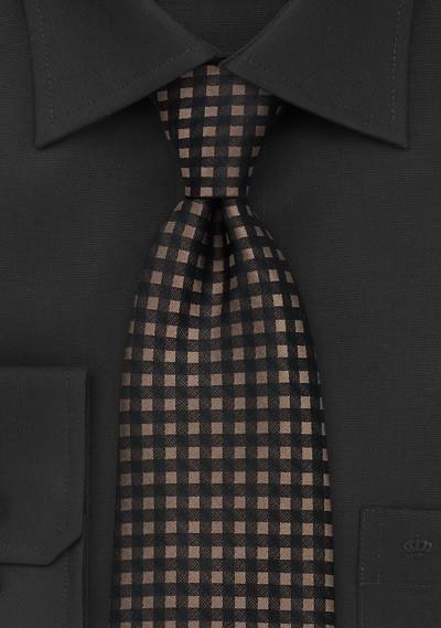 Brown and Black Gingham Tie