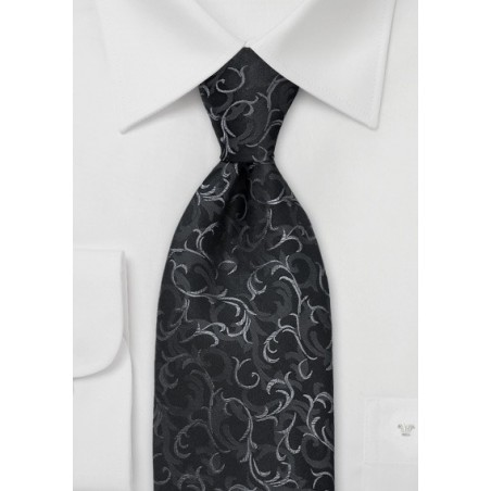 Black Scroll Pattern Silk Tie