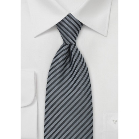 Gray and Charcoal Striped Tie