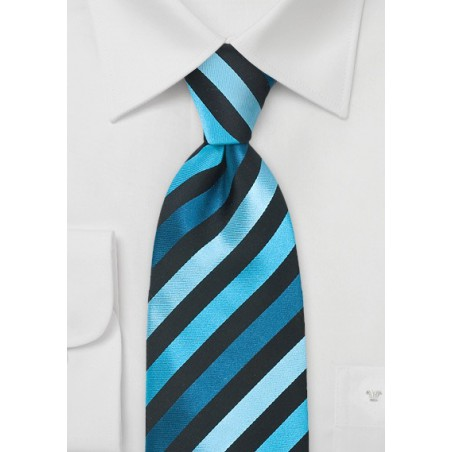 Teal, Turquoise, Black Striped Tie