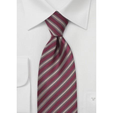 Dark Red Tie with Bronze Stripes