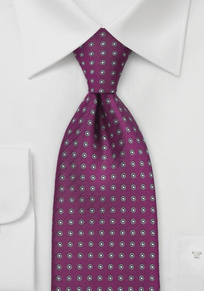 Wine Red and Gray Polka Dot Tie