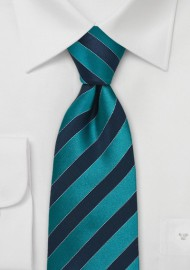 Teal and Royal Blue Silk Tie