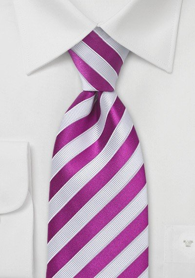 Hot Pink and White Silk Tie