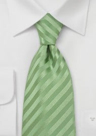 Light Green Striped Kids Tie