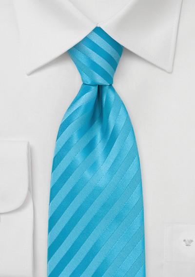 Aqua Blue Striped Tie