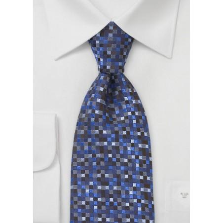Geometric Squared Tie in Blues