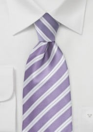 Striped Tie in Lilac and Ivory