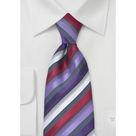 Purple and Red Striped Tie