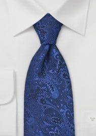 Dark Pacific Blue Paisley Tie