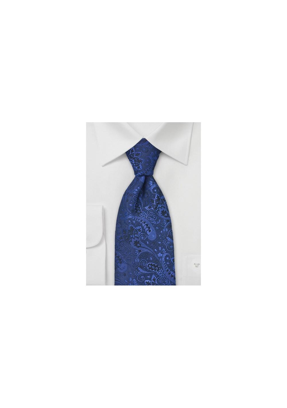 Dark Pacific Blue Paisley Tie