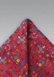 Modern Red Paisely Pocket Square