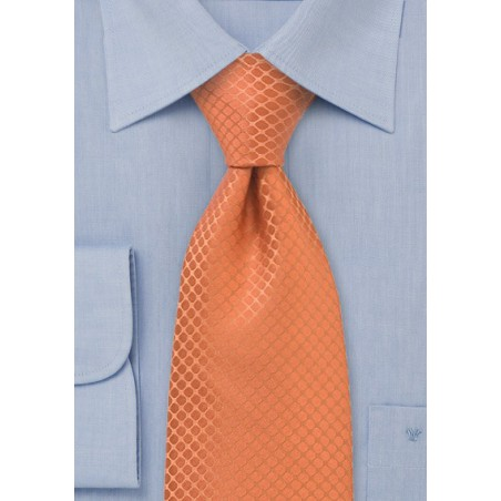 Trendy Orange Silk Tie in XL Length
