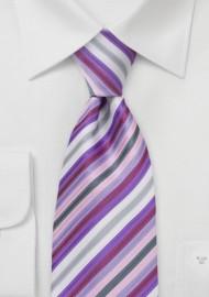 Lavender Purple Striped Tie in XL