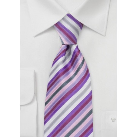 Lavender Purple Striped Kids Tie